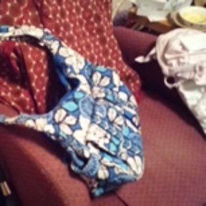 Vera Bradley blue and white handbag; Shariff black